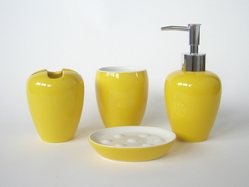 Nice Yellow Ceramic Bathroom Accessories Sets