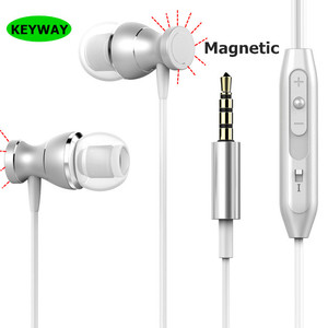 New Fashion In-Ear Wired Earphone With Mic Microphone 3.5mm Jack Standard Stereo Headset Magnetic For samsung Galaxy S8
