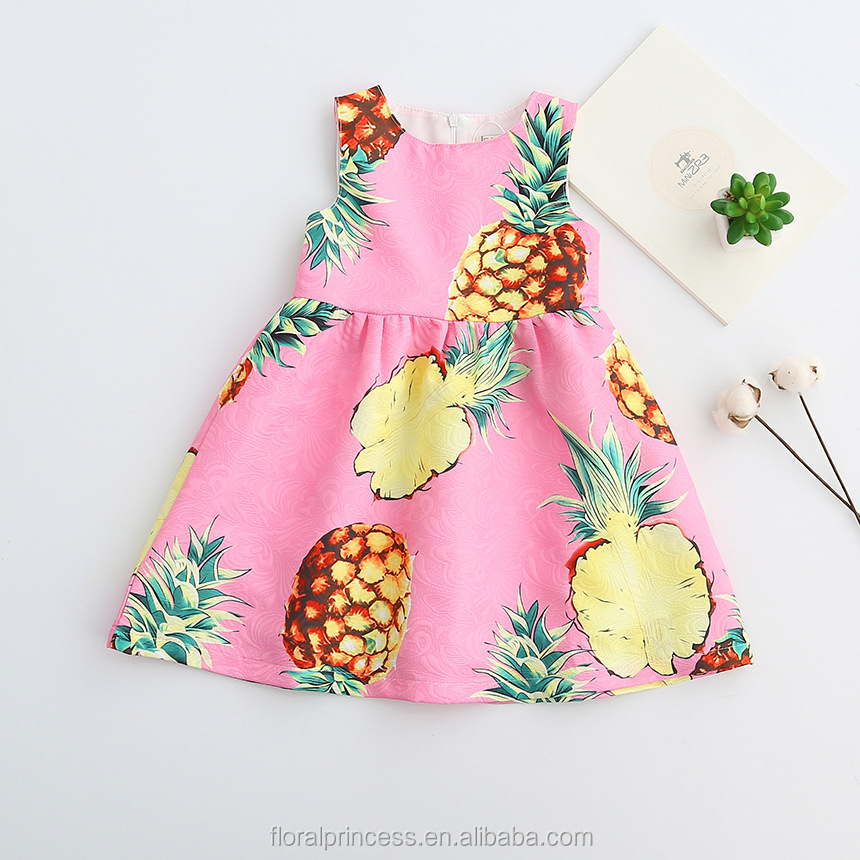 Niñas vestido con piña patrón chica vestido de fiesta diseñador ...