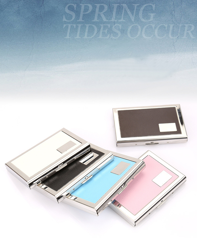 Stainless steel credit card case RFID blocking portable metal card holder box for men male