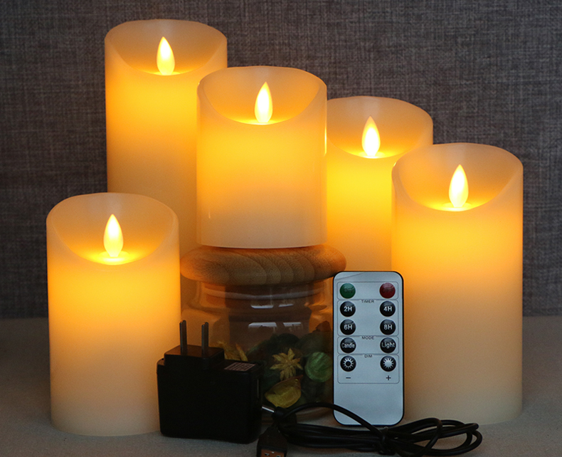 10 key remote control USB charging LED electronic simulation candle decorative lights