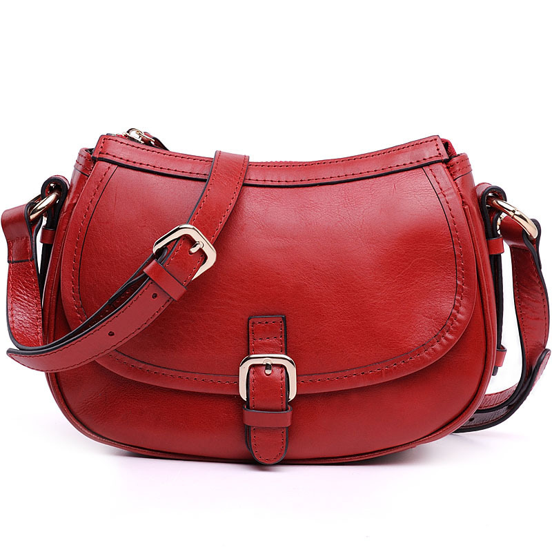 2015 Women Saddle Bags Vintage Small Bag Crossbody Shoulder Bag Cowhide Leather Oil Wax Women Messenger Bags High Quality M-8008