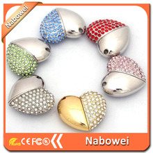 Promotional gift heart shape jewelry diamond usb flash drive,crystal flash memory usb