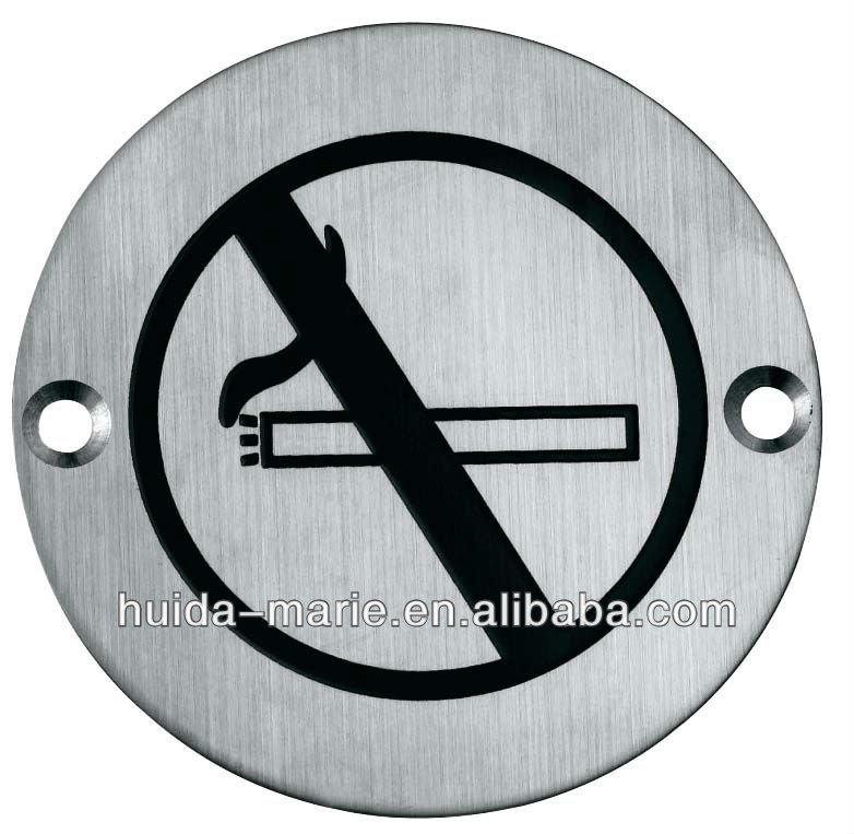 stainless steel no smoking sign plate