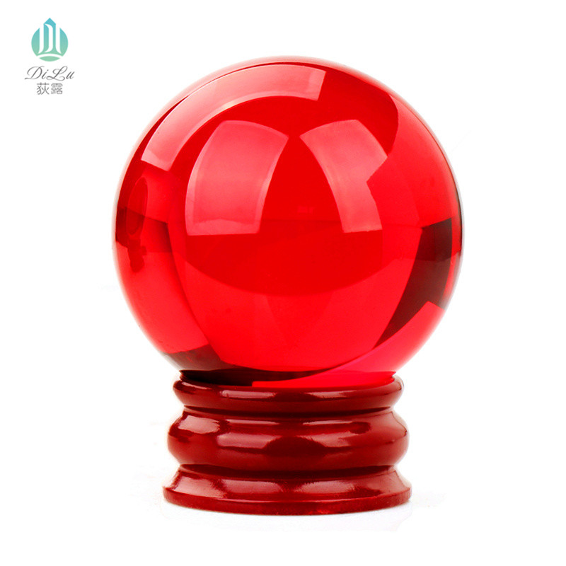Newest 200mm Brilliant Red color home decoration Magical crystal FengShui ball