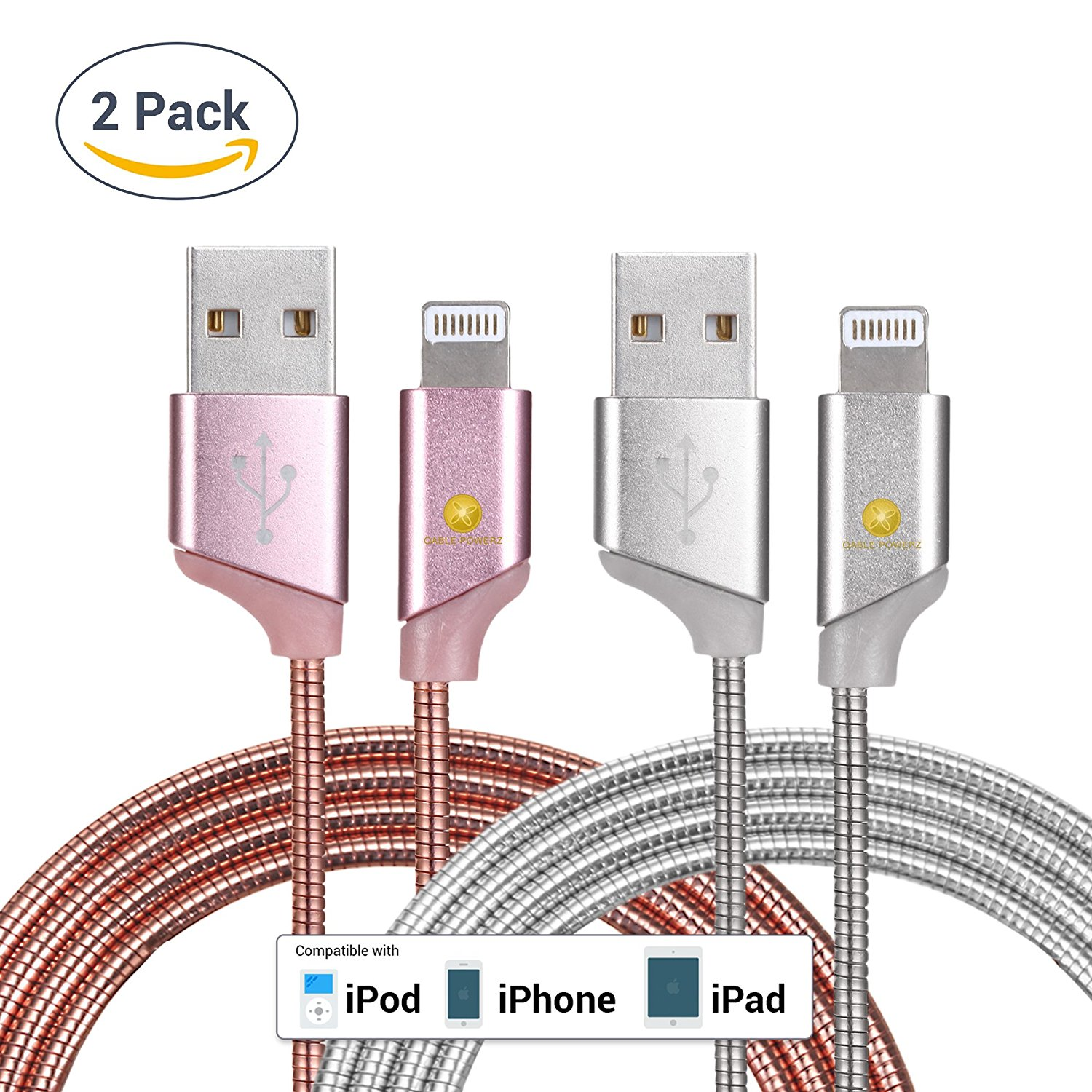2pk New Ultra Super-Fast Heavy Duty 3Ft (1M) 2pk 8-Pin Lightning Metal Spring Cord Charging Cable High Speed USB 3.0 Sync Cable for iPhone 7, 6, 6 Plus – Pink Silver
