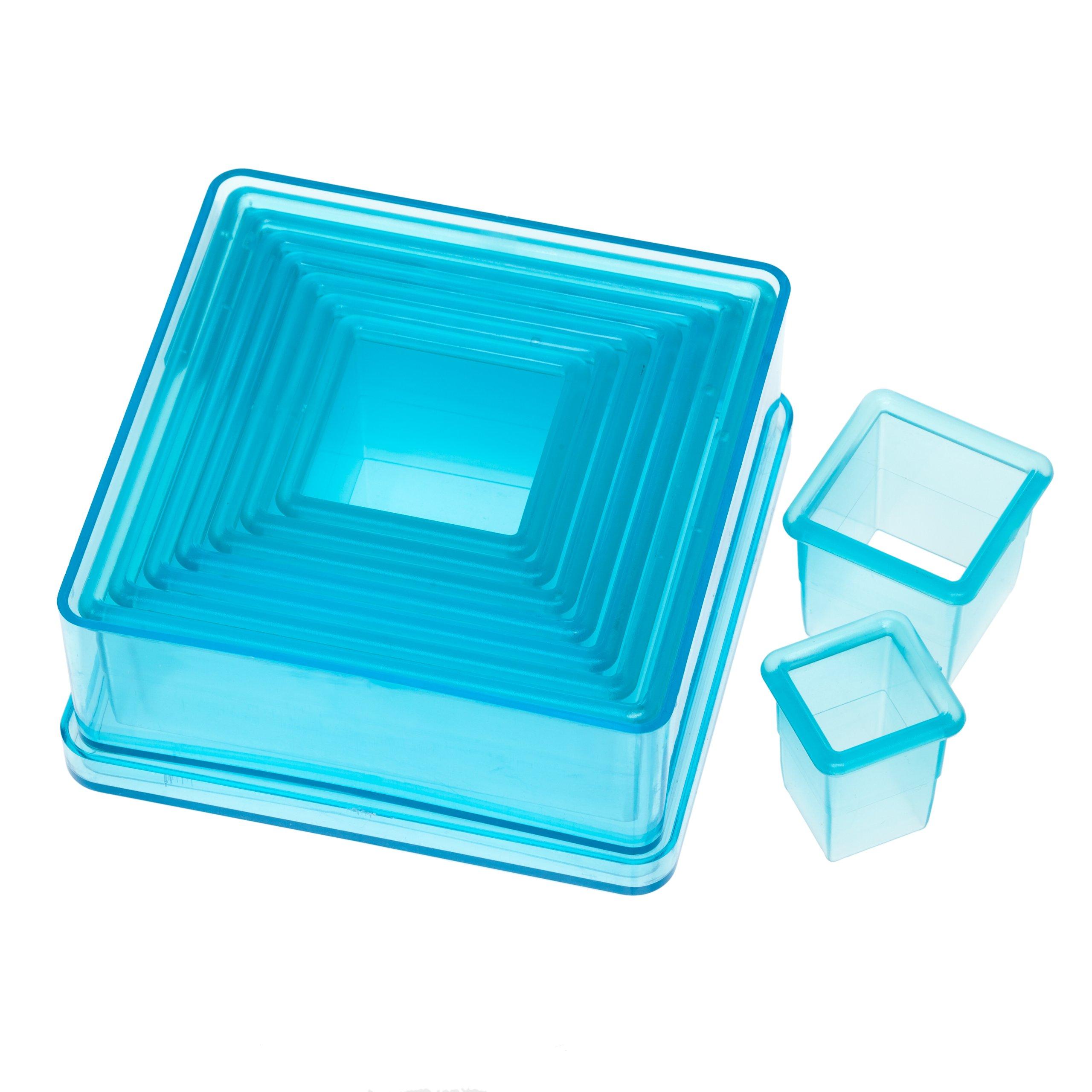 Ateco 5753 Plain Edge Square Cutter Set in Graduated Sizes, Durable, Food-Safe Plastic, 9 Pc Set