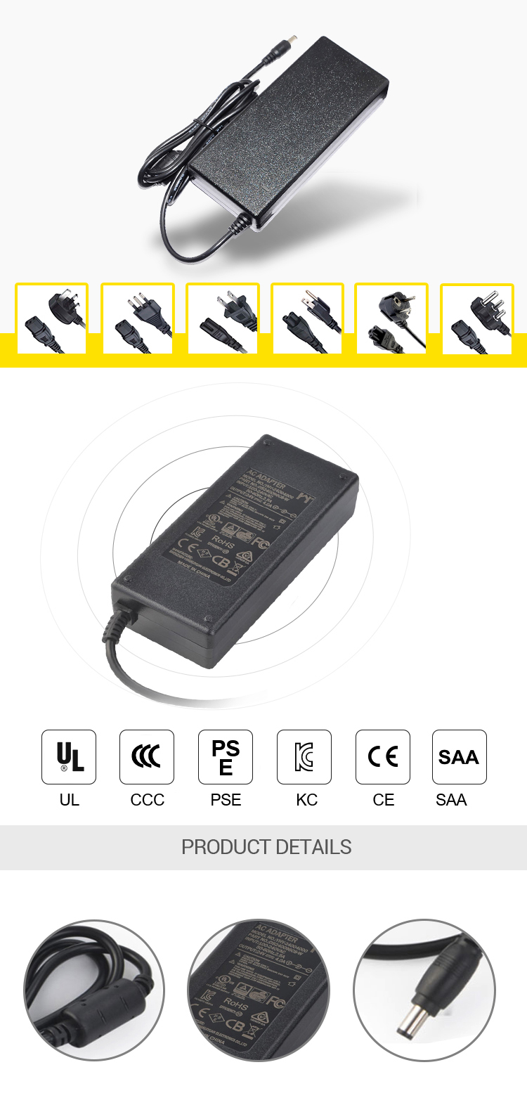 desktop 84w 12v 7a 7000ma ac dc switching power supply laptop adapters power adapter for IR camera wiht CE UL KC certificates