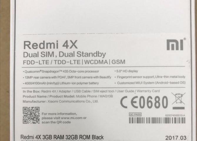 Original Global Version Xiaomi Redmi 4x Mobile Phone Eu Version 3gb Ram  32gb Rom Snapdragon435 13mp Miui8 Eu Charger - Buy Xiaomi Redmi 4x Eu