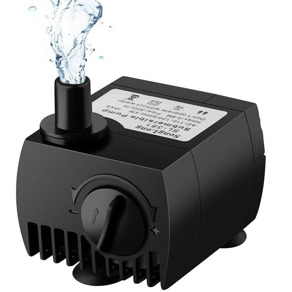 Maxesla Submersible Pump 80 GPH (300L/H) Fountain Water Pump For Pond/Aquarium/Fish Tank/Statuary/Hydroponics with 5.9ft (1.8M) Power Cord