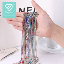 Brass chain and colorful Rhinestone Cup Chain Crystal