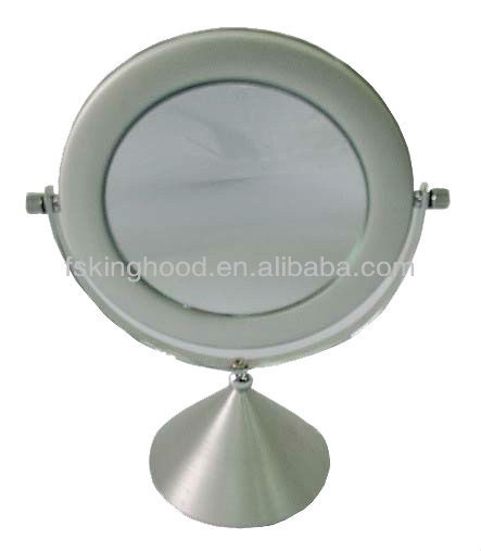 anodizing silver aluminum desk mirror magnify 1X 2X 3X 4X 5X 6X 7X round frame table desk top LED table mirror