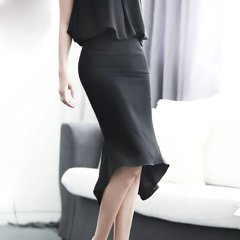 Plus Size 6xl 7xl Mermaid Black Maxi Pencil Skirts High Waist Office Skirt Long Fishtail Skirt Midi Peplum Skirt Saia Feminina