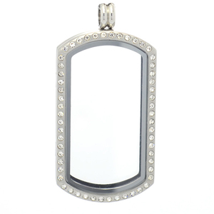 Dog tag crystal floating charms locket, stainless steel memory keepsake locket glass pendant