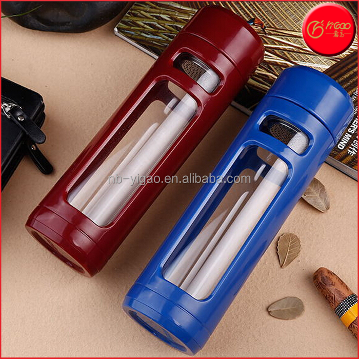 YG-17988 Business Water bottle glass with silicone sleeve to drink water in business contacts