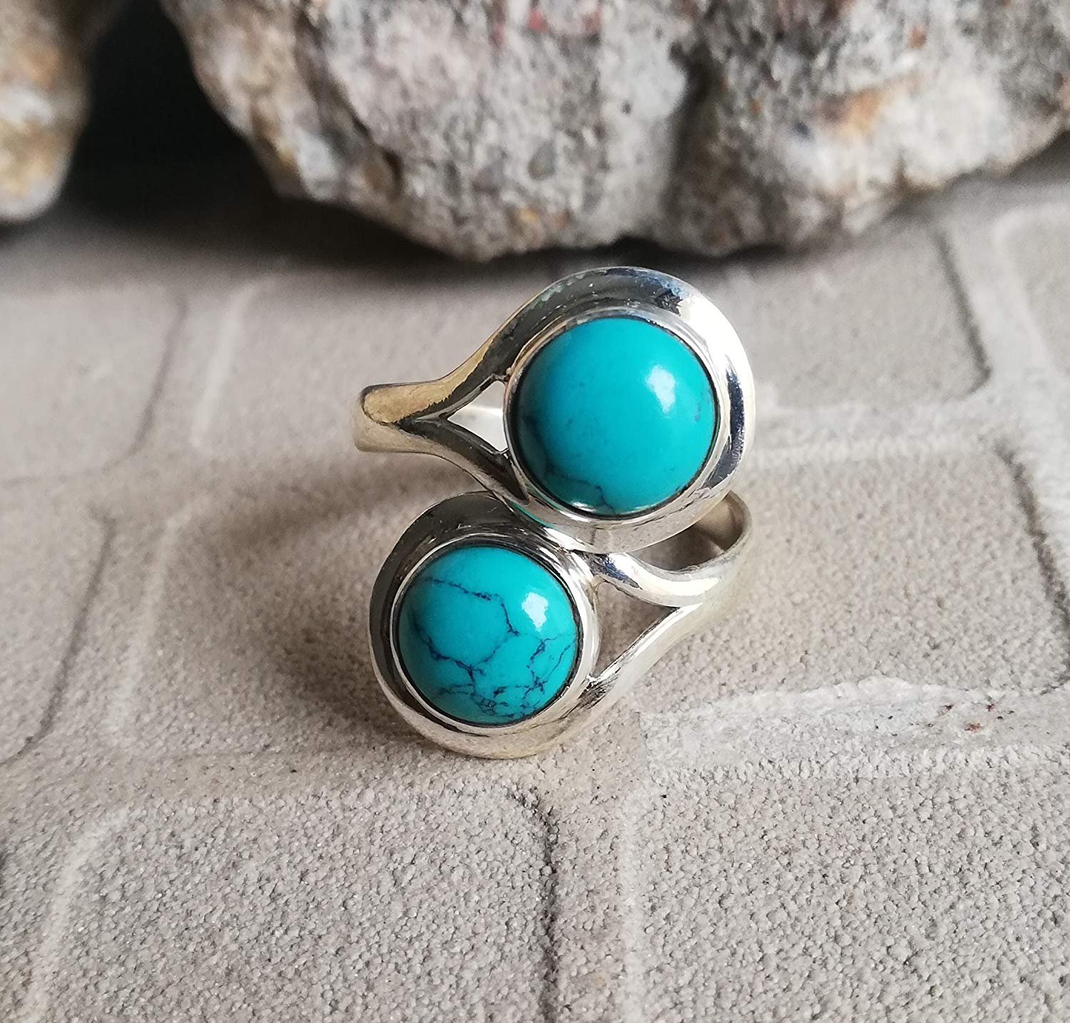 Turquoise Ring, 925 Sterling Silver, Outstanding Ring, Artisan Ring, Bezel Ring, Graduation Gift Ring, Ocean Ring, Ethnic Ring, Promise Ring, Friendship Ring, Two Stone Ring, Gift, US All Size Ring