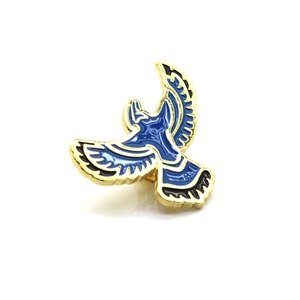 Free design 1.2 inch blue bird shape metal lapel pins for gift