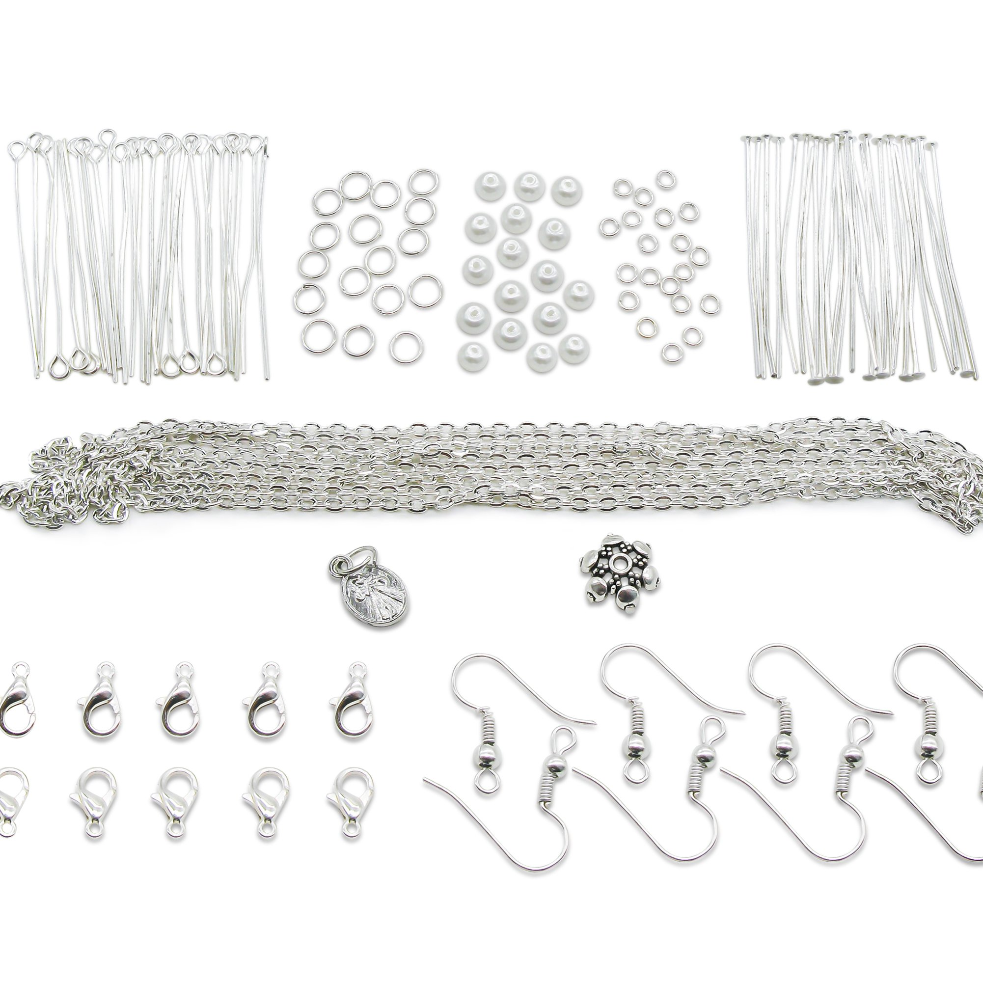 Get Quotations Toaob Silver Jewelery Making Starter Kits Findings Beads Chains Clasps Earring Hook Jump Rings Pins Accessories