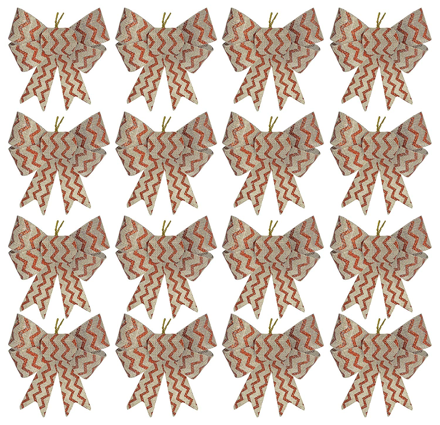 Set of 16 Silver and Red Festive Holiday Christmas Bows - Perfect as Tree Ornaments - Tree Filler - Decorative Ornaments - Perfect for Preparing for the Holidays!