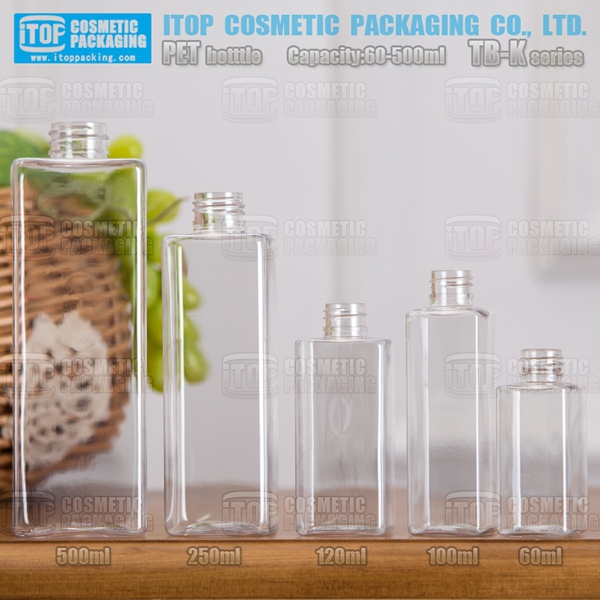 TB-K Series 60ml 100ml 120ml 250ml 500ml classical single layer useful color injection blowing plastic square pet bottle