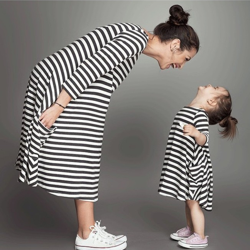Family Matching Outfits baby and mom women dress nighty girl dress kids pajamas stripe Mother and