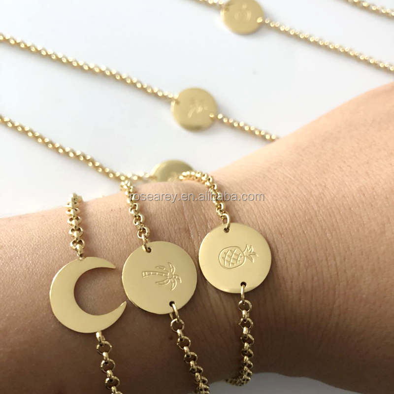 02ca25450f Stainless steel Custom Jewelry Personalized Symbols Engraved Disk Pineapple  coconut trees Disc Chain Bracelet