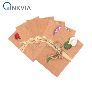 Wholesale Premium Dry Flower Blank Greeting Card Handmade Foldable Creative Kraft Paper Greeting Card with Envelope Rope