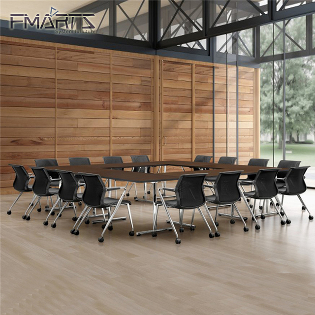 Zhongshan Furniture Factory Independent Or Stitching Round Melamine Desktop Modern Office Meeting Conference Table