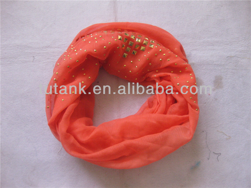 Infinity Round Square Studs Polyester Scarf