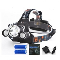 Clover Brightest 3pcs head lamp T6 18650 rechargeable 4 Modes Waterproof led headlamp