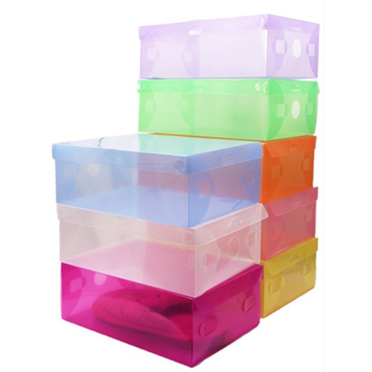 5x Transparent Clear Plastic Shoe Boxes Stackable Foldable