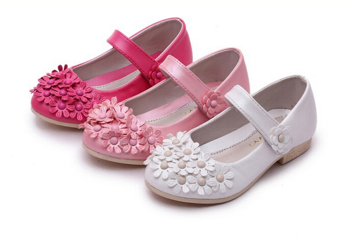 Girls white shoes spring autumn leather beautiful princess kids party flat shoes for girls children ninas