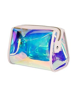 Ginzeal Wholesale Custom Silver Glitter Portable Travel Holographic PVC Makeup Bag