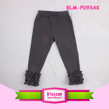 New arrival high quality children's clothing soft cotton baby girls boutique icing ruffle pants
