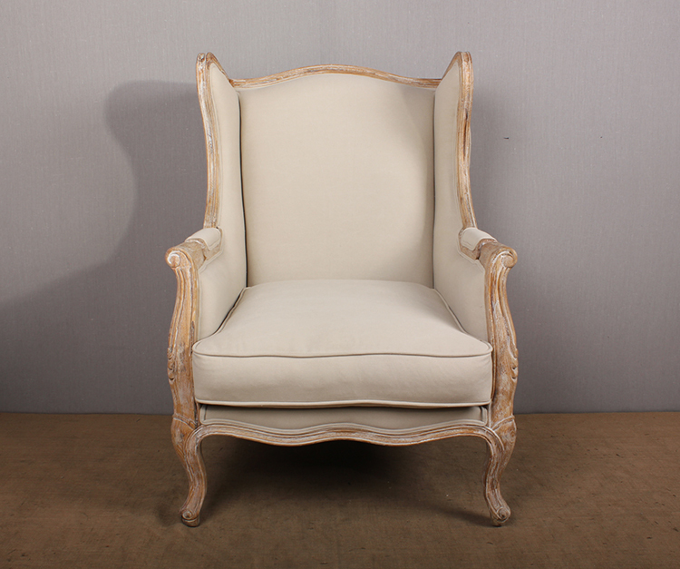 French Style Oak Wood Wing Back Single Seater Sofa Chairs