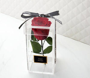 clear acrylic single preserved rose flower box for enchanted/forever red/preserved rose,