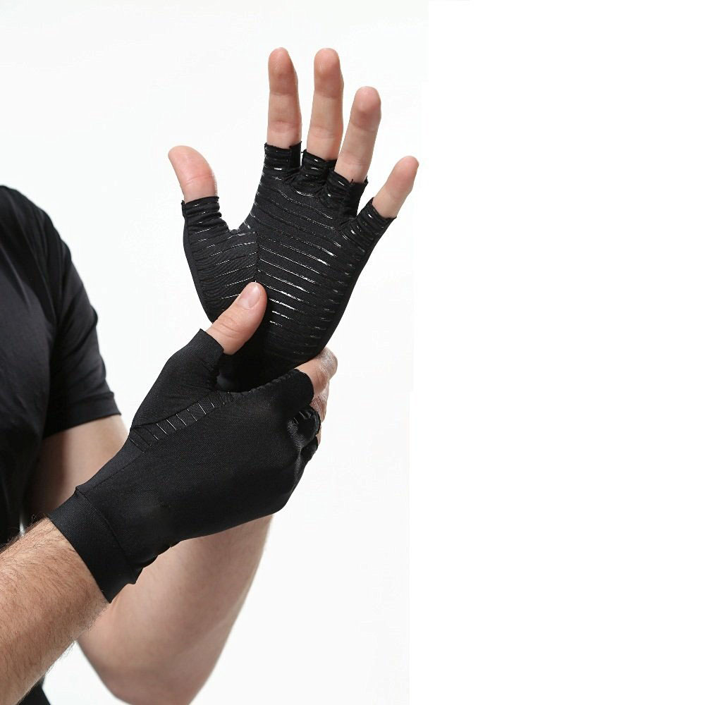 Copper compression comfortable anti-slip cycling riding sport half finger arthritis <strong>gloves</strong>