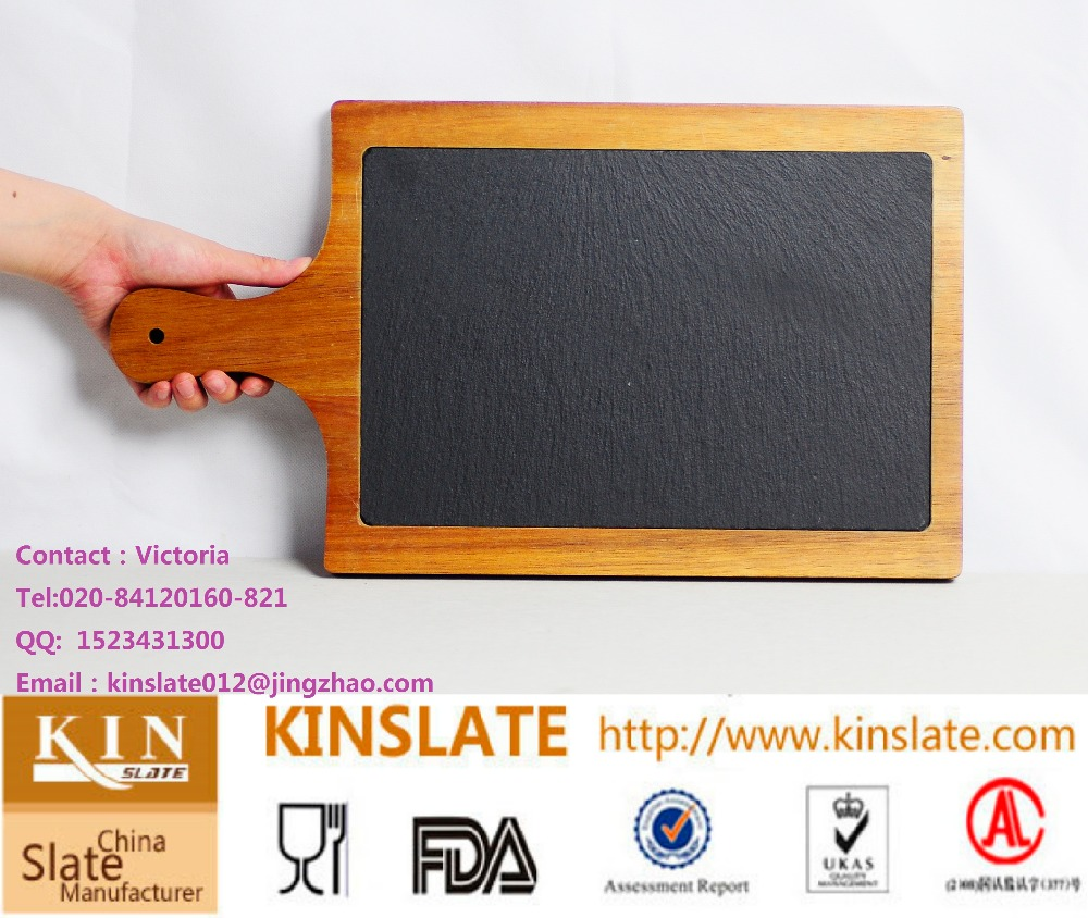wooden serving board with slate stone inlay