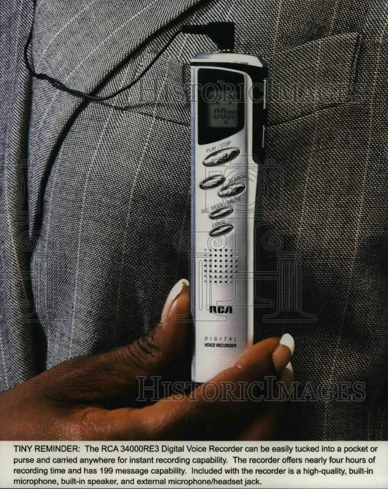 Get Quotations · 2000 Press Photo The RCA 34000RE3 Digital Voice Recorder  can be easily tucked