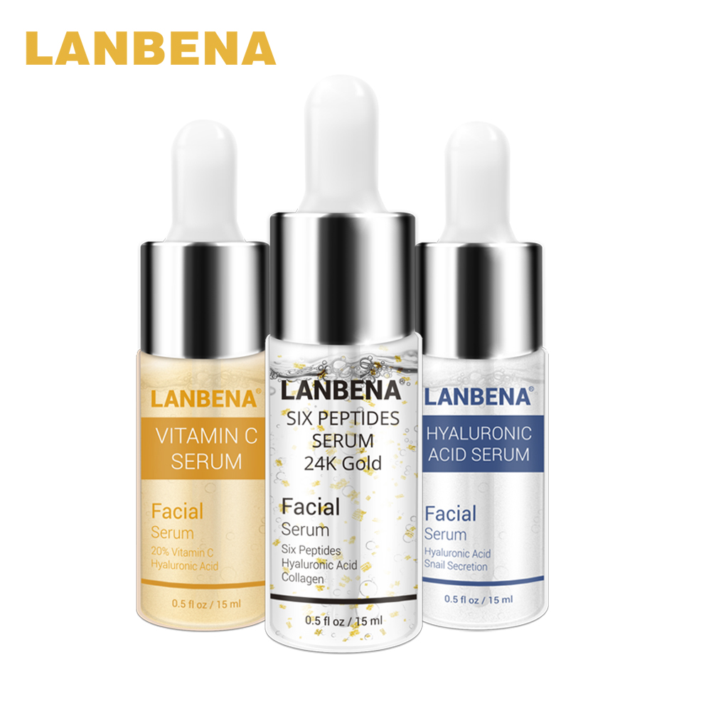 LANBENA Vitamin C Serum Six Peptides 24K Gold Serum Hyaluronic Acid Serum Anti-Aging Moisturizing Whitening 3pcs Skin Care Set