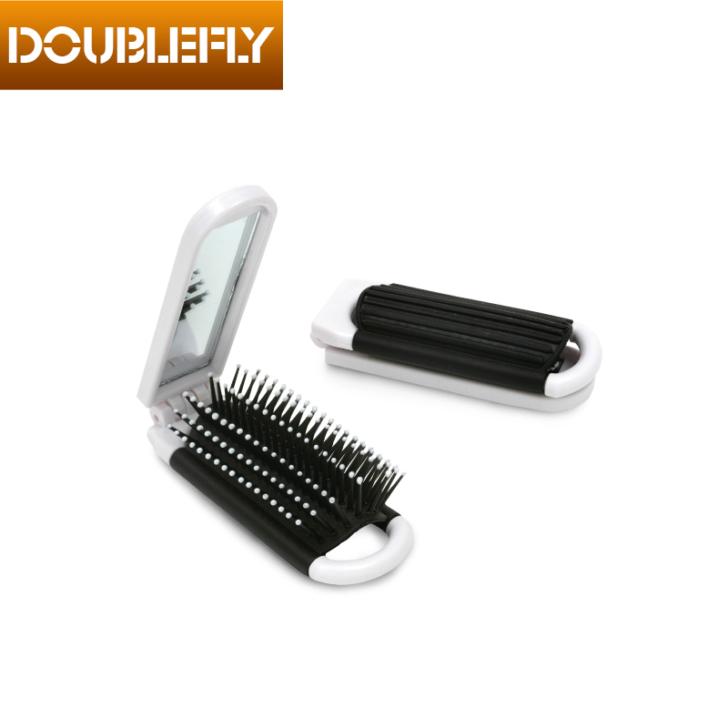 Small Plastic Hair Brush Pocket Mirror Folding Comb With Mirror
