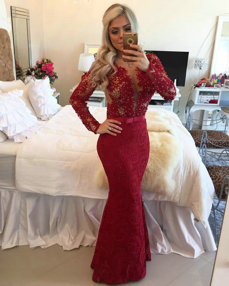 Aliexpress.com : Buy Floor Length Gowns Burgundy Lace