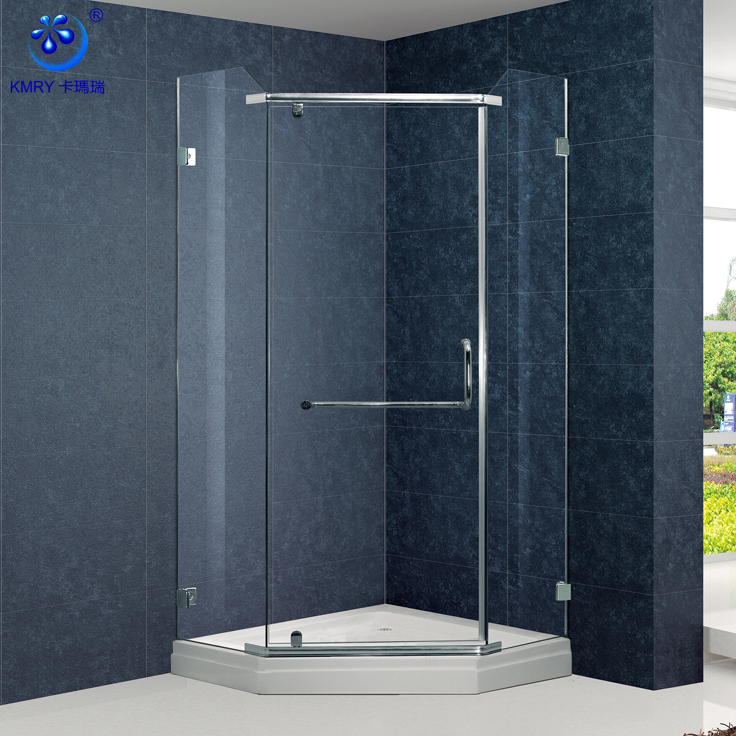 Customize Neo Angle Shape Frameless Stainless Steel Hardwares Pivot Shower Door Kk6527