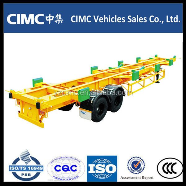 Double Axles Bomb Cart Semi-Trailer/2Axles Skeletal Container Chassis Truk Semi Trailer