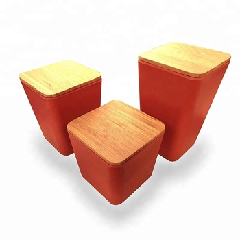Square shape Kitchen Canister set with Bamboo Lid Perfect countertop storage jars for coffee tea sugar