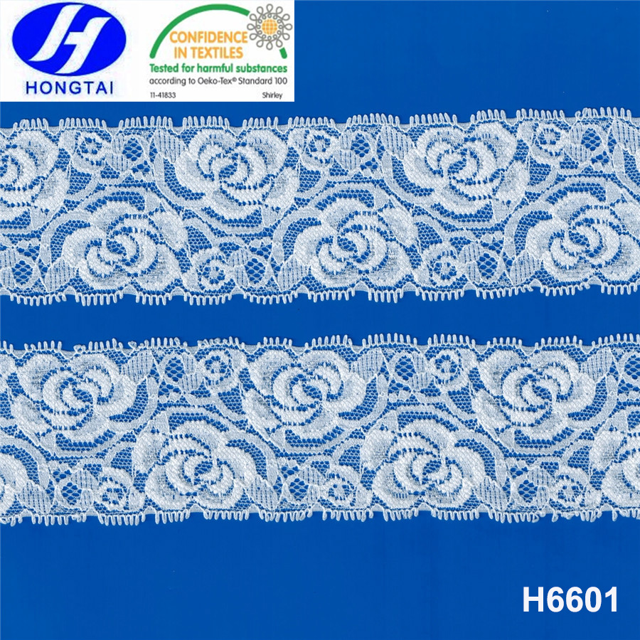 6 1/5'' Elastic Floral Style Double Side Picot Lace Trim for Decoration
