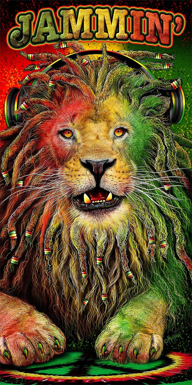 18325968af Get Quotations · JGR Copa Jamaican Jammin Leo Lion 30x60 Cotton Velour Beach  Towel