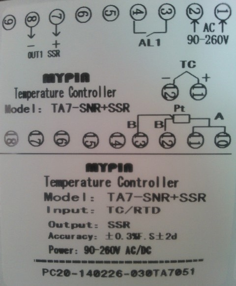 MYPIN Digital temperature Thermometer set SSR output with PT100