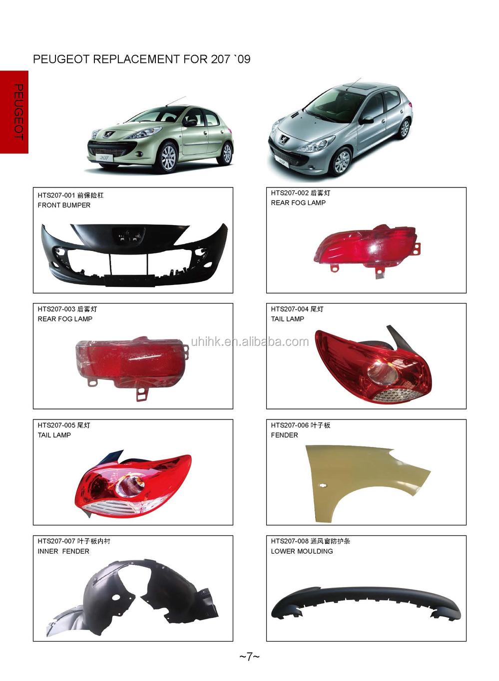 Car body parts front bumper rear fog lamp taillamp fender inner fender lower