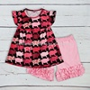 hot selling pink shorts colorful top boutique outfit baby girls clothing set